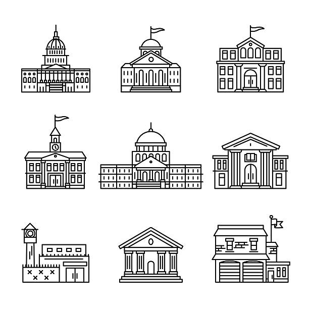 Government and education buildings set Government and education buildings set. Thin line art icons. Linear style illustrations isolated on white. state capitol building stock illustrations