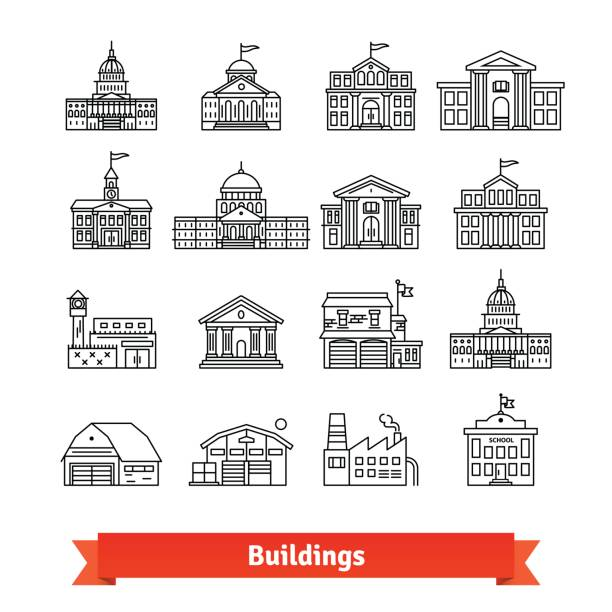 Government and educational public building set Government and educational public building set. Thin line art icons. Linear style illustrations isolated on white. campus stock illustrations