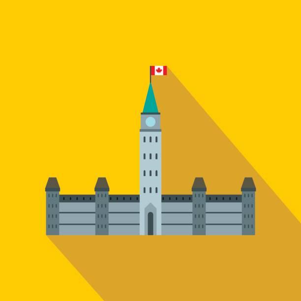 Regierungsgebäude Symbol im flachen Stil – Vektorgrafik