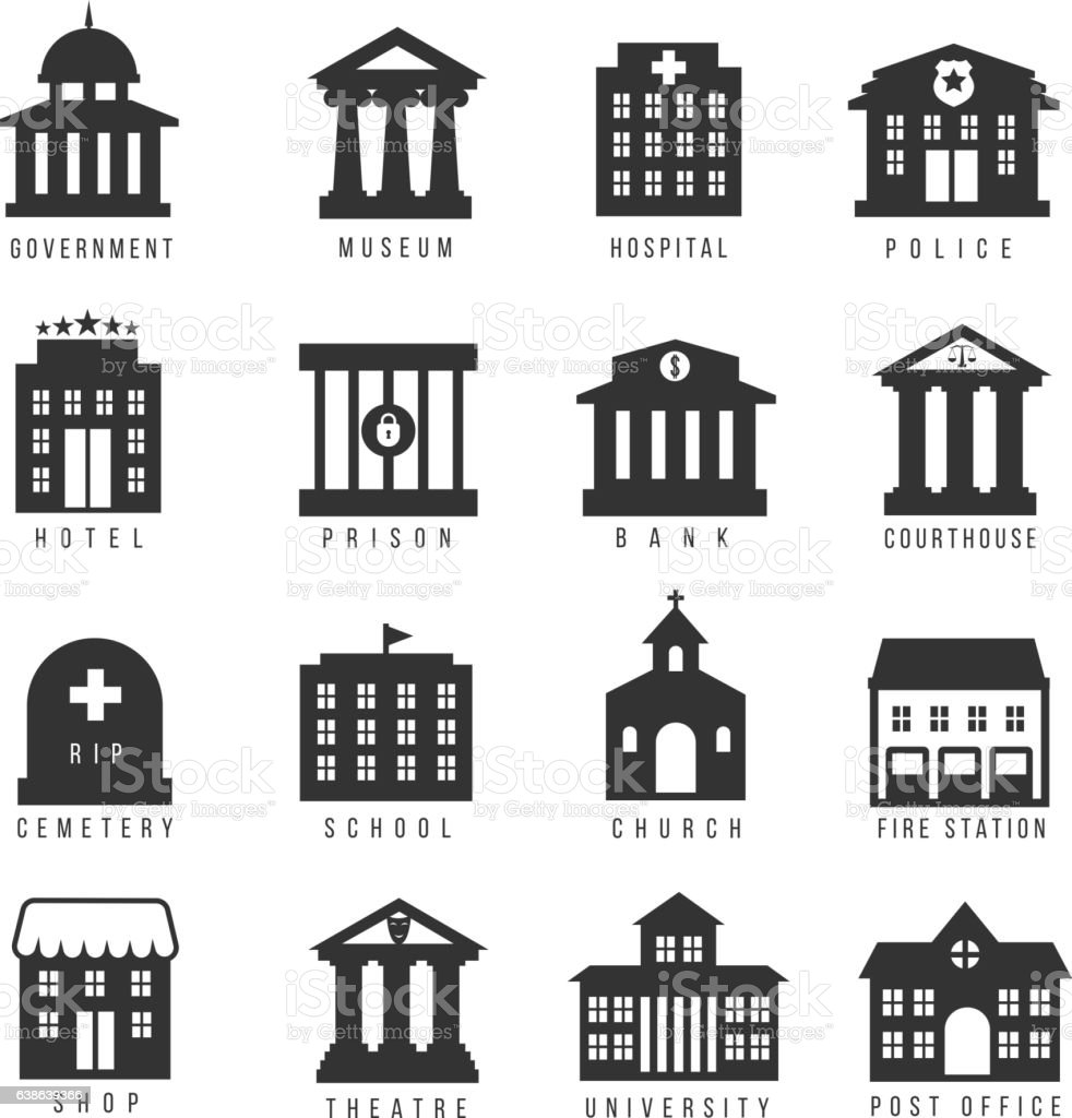 Government building icon set vector art illustration