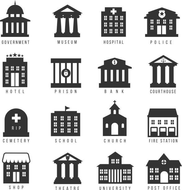Government building icon set – Vektorgrafik