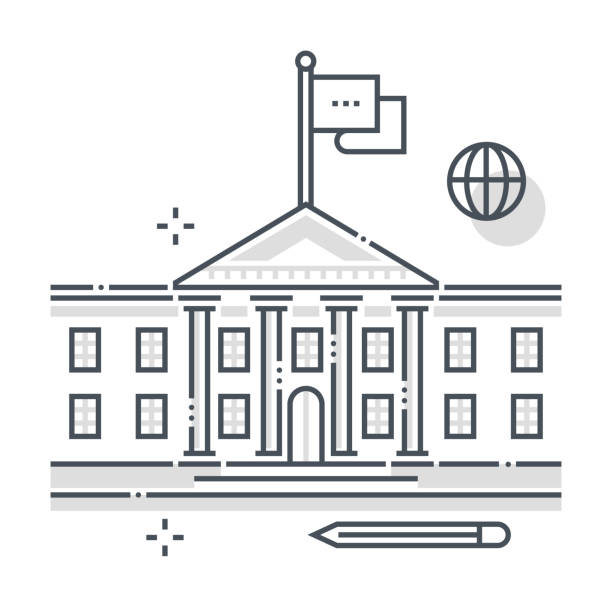 government building related color line vector icon, illustration - white house stock illustrations