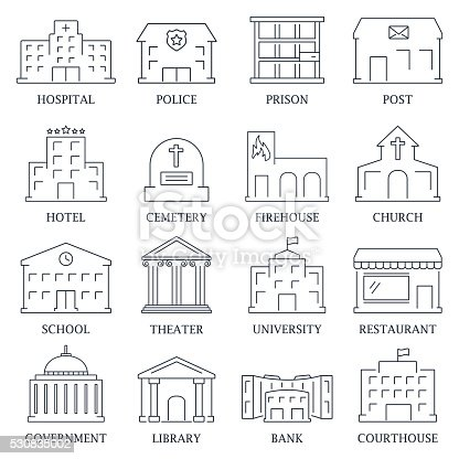Government building  set of police  museum library theater  vector illustration