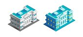 Isometric view at exterior of an urban building, represented in different color variations.