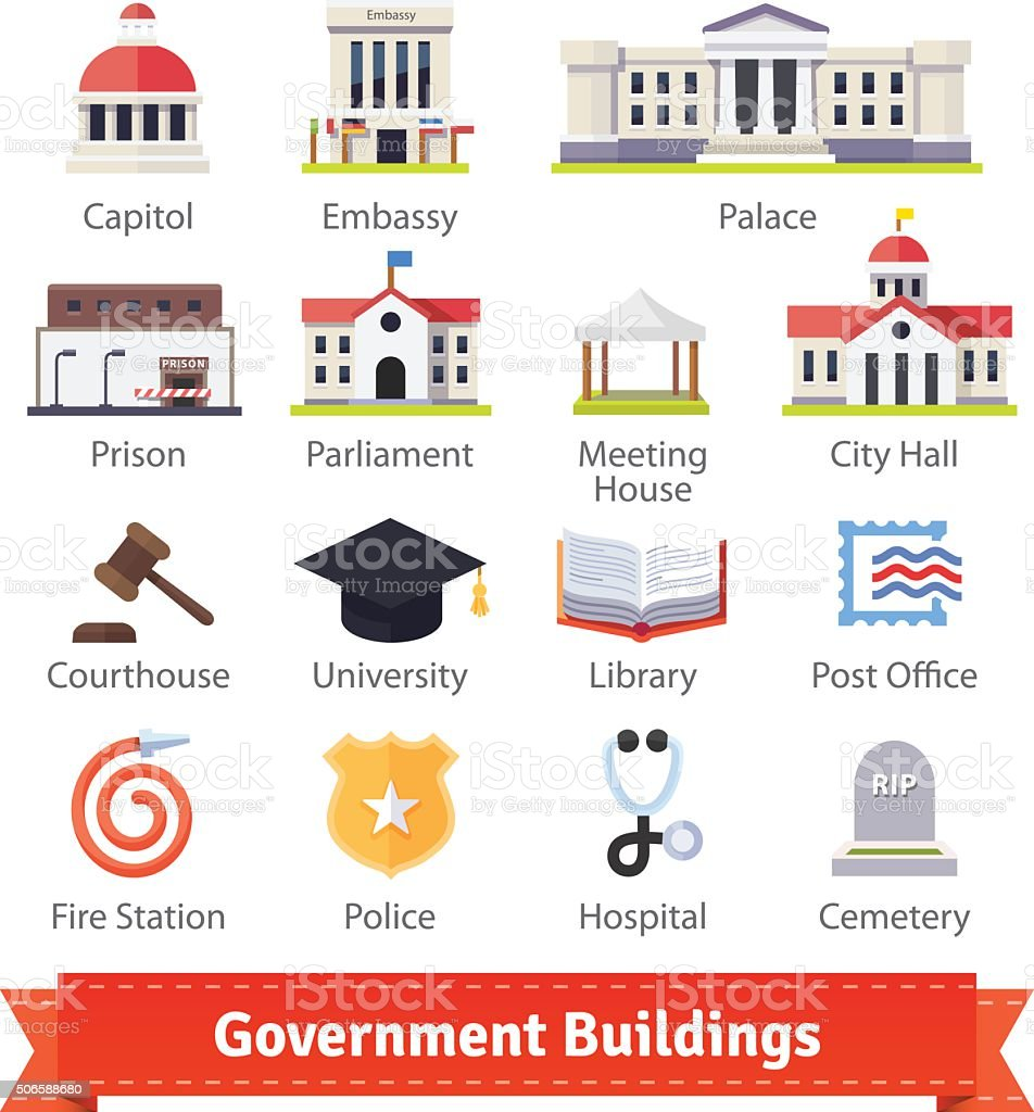 Government buildings colourful flat icon set vector art illustration