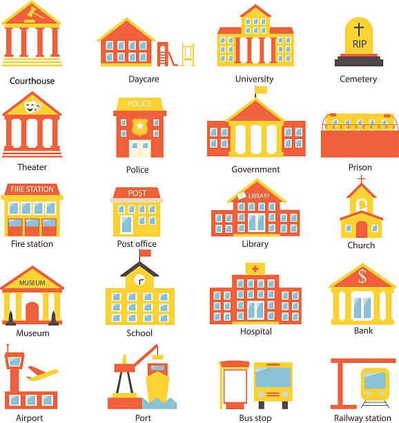 bildbanksillustrationer, clip art samt tecknat material och ikoner med government buildings icons set - förskolebyggnad