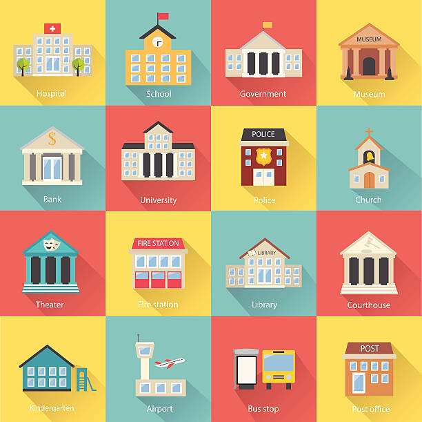 Government buildings icons set with long shadow Government buildings icons set with long shadow. Includes church, school, police, museum, library, theater, airport, bank isolated, vector illustration campus stock illustrations