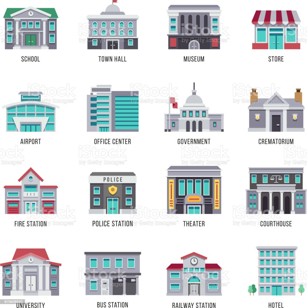 Government buildings vector flat icons set vector art illustration