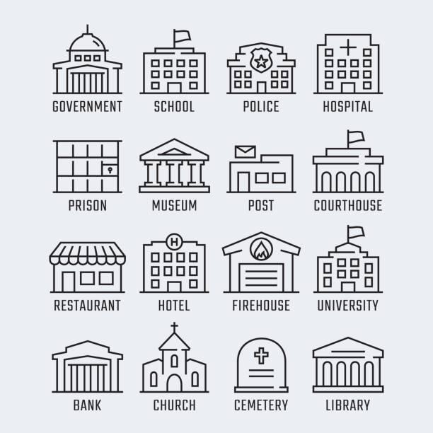ilustrações, clipart, desenhos animados e ícones de edifícios do governo vector ícone definido no estilo de linha fina - banco edifício financeiro