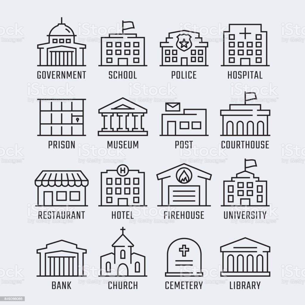 Government buildings vector icon set in thin line style vector art illustration