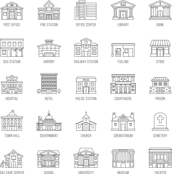 Government buildings vector thin line icons set vector art illustration