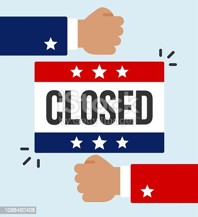 A closed sign with a democratic colored fist and republican colored fist to represent the fight between parties concerning government shutdown.