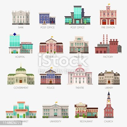 Government houses. Municipal office bank, buildings hospital school university police station library city exterior architecture flat vector icons