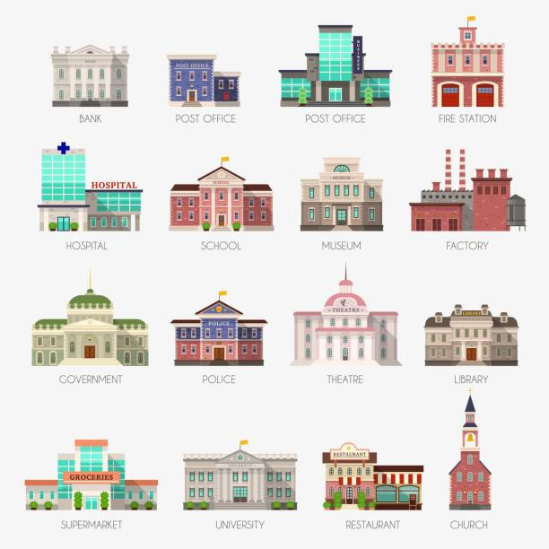 Government houses. Municipal office bank, buildings hospital school university police station library city exterior flat vector icons Government houses. Municipal office bank, buildings hospital school university police station library city exterior architecture flat vector icons banking silhouettes stock illustrations