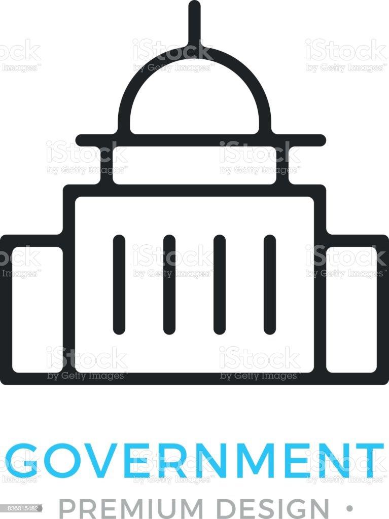 Government Icon Capitol Building Premium Design Vector