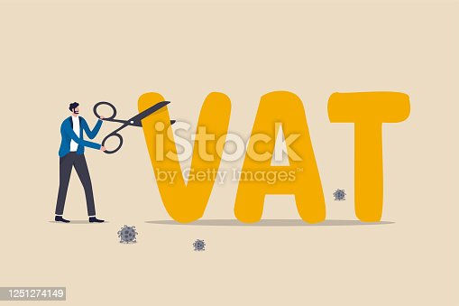 Government money policy to cut VAT or reduce tax rate to help economic recovery after COVID-19 Coronavirus pandemic, government, FED and central bank using scissors to cut or lower VAT rate.