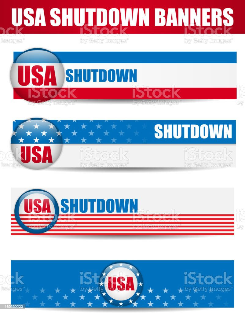 Government Shutdown USA Closed Banners. royalty-free stock vector art