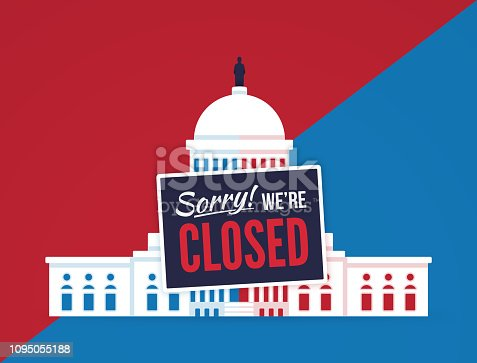Government shutdown Capitol dome illustration concept.