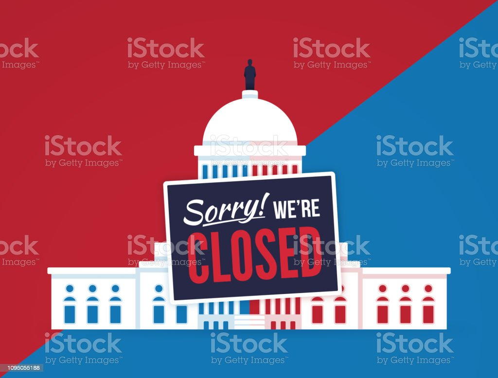 Government Shutdown vector art illustration