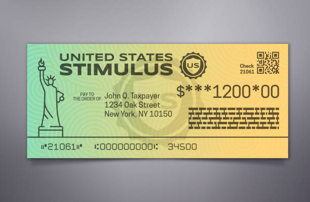 Government Stimulus Check Government emergency stimulus payment check. stimulus check stock illustrations