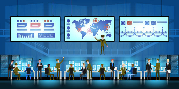 Government Surveillance Agency and Military Joint Operation in command control center. People and the military Working at System Control Center vector art illustration