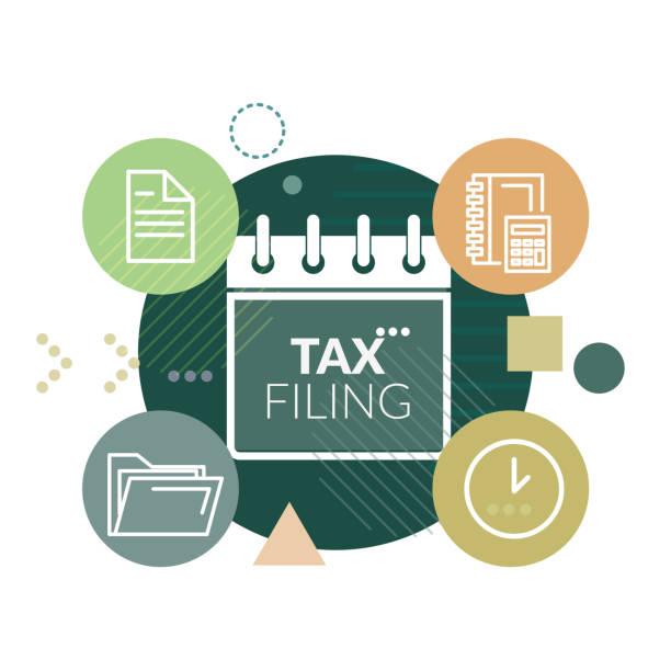 ilustraciones, imágenes clip art, dibujos animados e iconos de stock de gobierno impuestos presentación y cumplimiento - ilustración - taxes