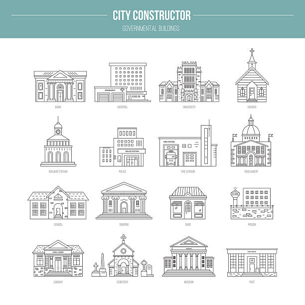 governmental buildungs - architecture clipart stock illustrations