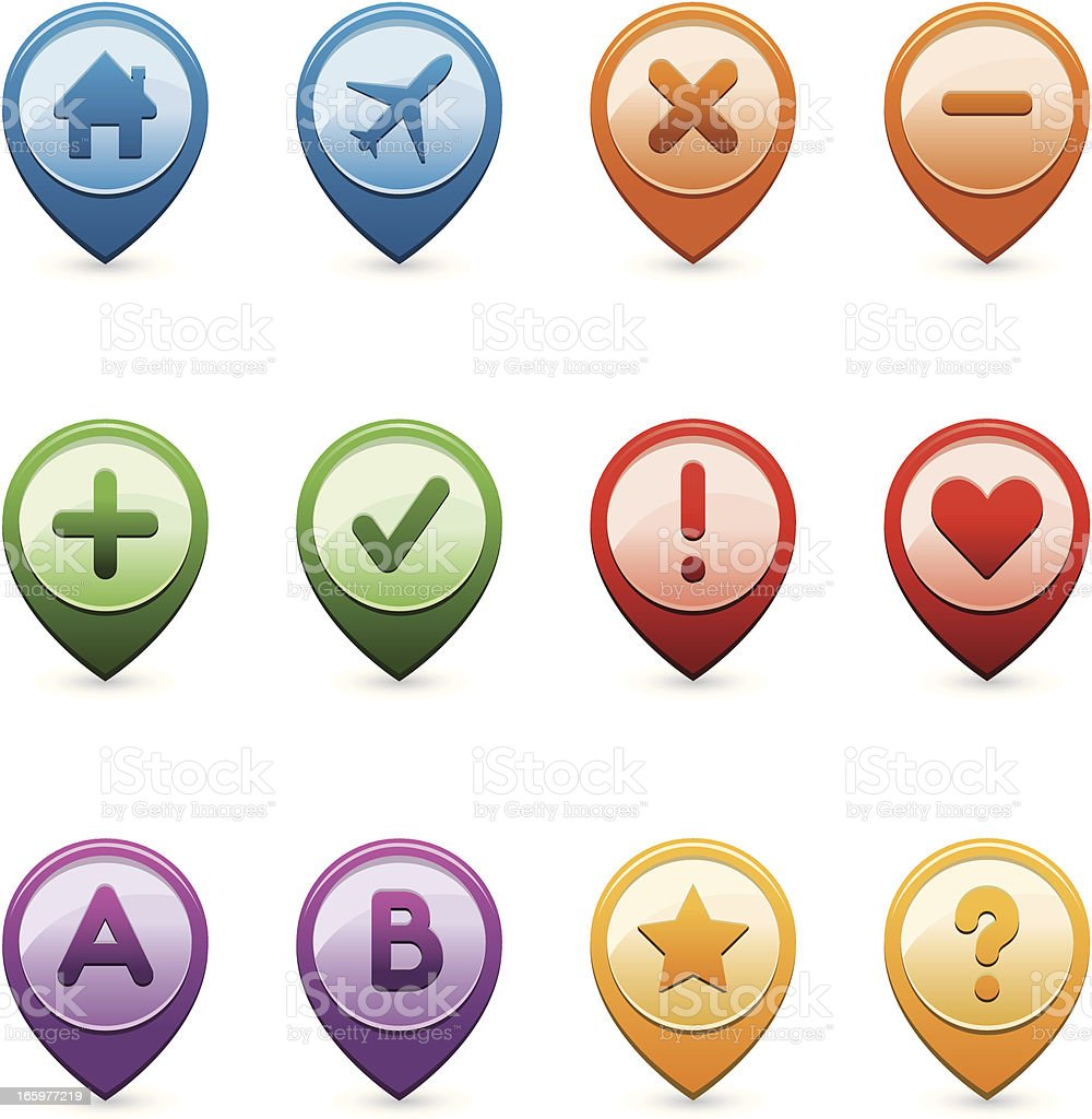 gps icon set vector art illustration