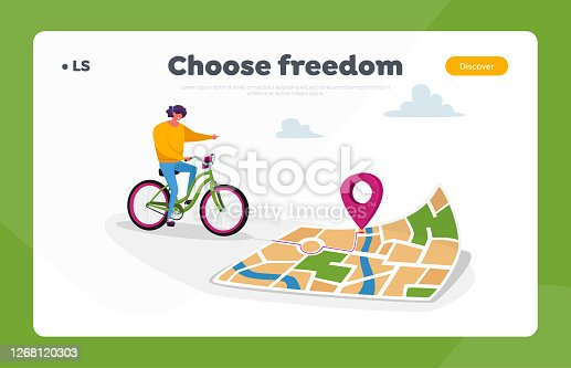 Gps Geolocation Landing Page Template. Female Character Riding Bike Use Map or Smartphone App to Finding Correct Way in Big City. Sport Navigation, Orienteering Traveling. Cartoon Vector Illustration