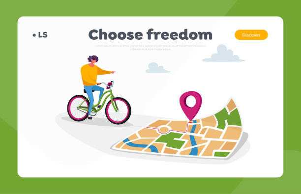 Gps Landing Page Template. Female Character Riding Bike Use Map or Smartphone App to Finding Correct Way in Big City Gps Geolocation Landing Page Template. Female Character Riding Bike Use Map or Smartphone App to Finding Correct Way in Big City. Sport Navigation, Orienteering Traveling. Cartoon Vector Illustration travel destination illustrations stock illustrations