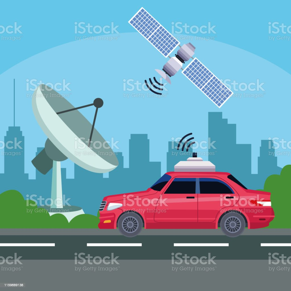 gps location car service concept with satelite, reception antenna in...