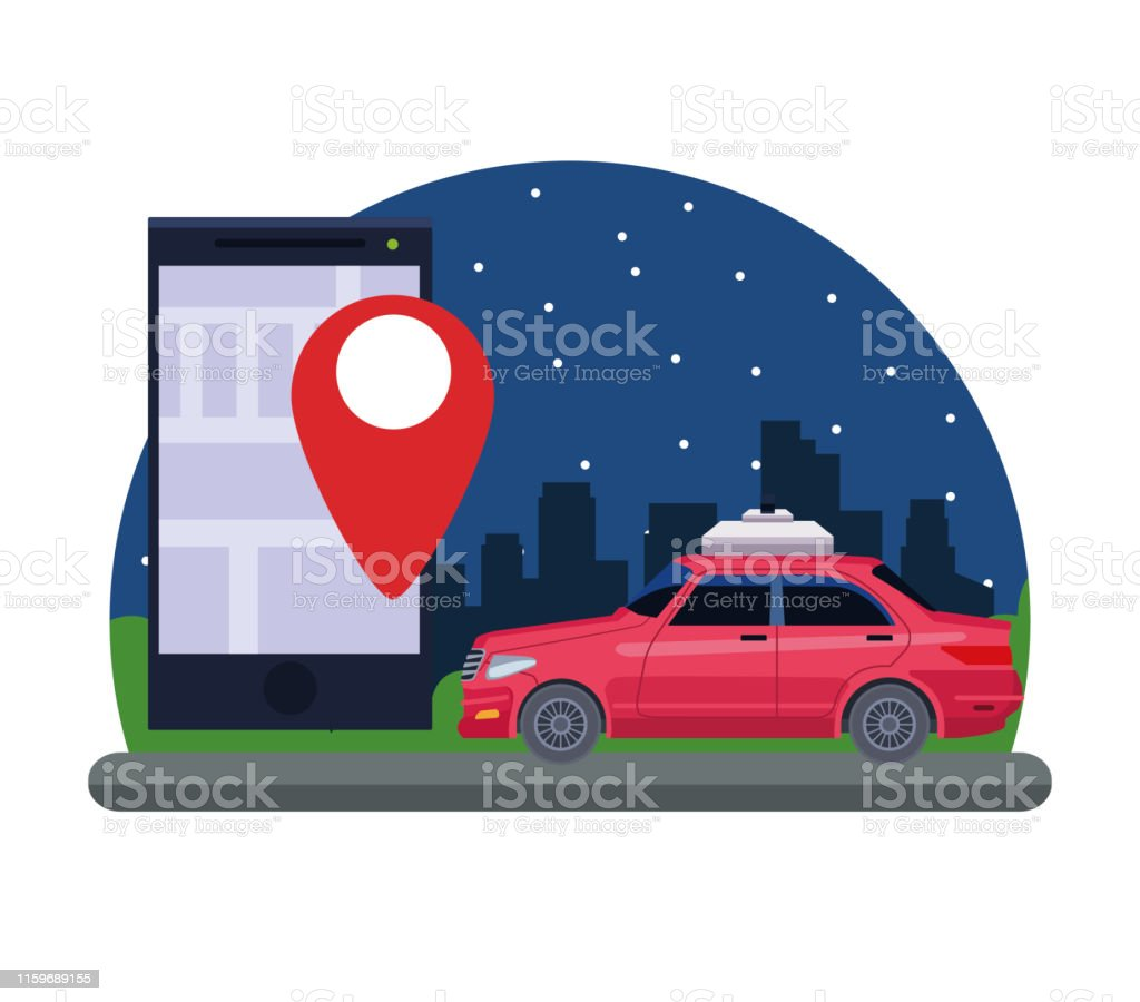 gps location car service concept with car and cellphone with location...