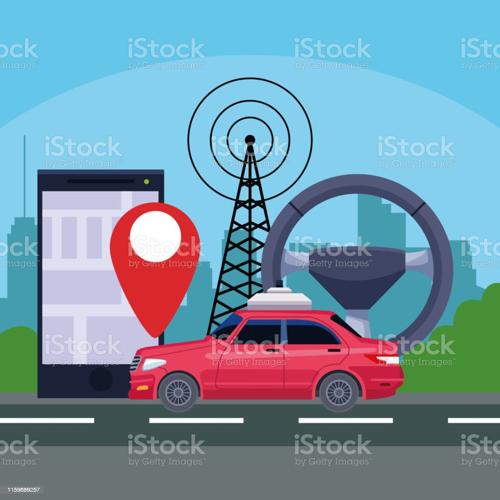 gps location car service concept with transmition tower and cellphone...