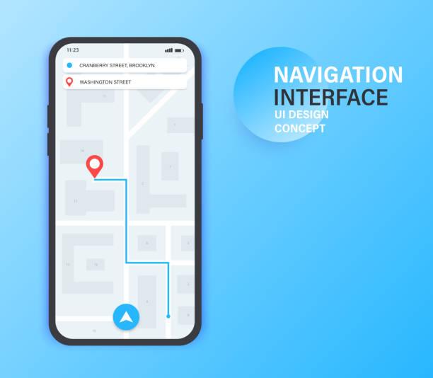 gps-navigations-app auf dem handy. city-map-navigation. mobile app-interface-konzept-design. vektor-illustration. - karte navigationsinstrument stock-grafiken, -clipart, -cartoons und -symbole