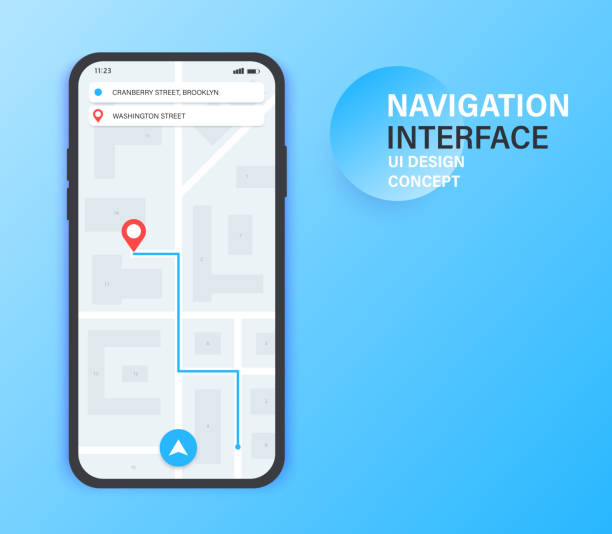 Gps navigation app on mobile phone. City Map Navigation. Mobile app interface concept design. Vector illustration. Gps navigation app on mobile phone. City Map Navigation. Mobile app interface concept design. Vector illustration navigational equipment stock illustrations
