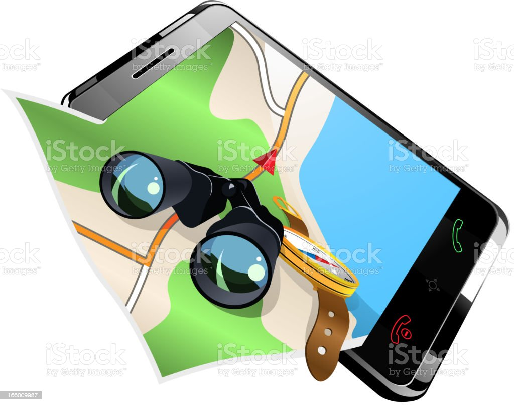 gps navigation on smart phone royalty-free gps navigation on smart phone stock vector art & more images of binoculars