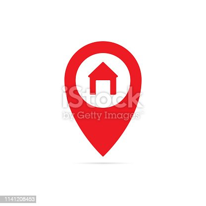 Gps point icon with home. Vector eps10