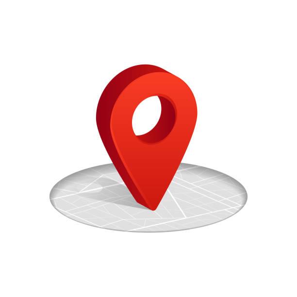 bildbanksillustrationer, clip art samt tecknat material och ikoner med 3d gps-röd färgikonen att släppa på gatan karta i vit bakgrund. - bebyggelse