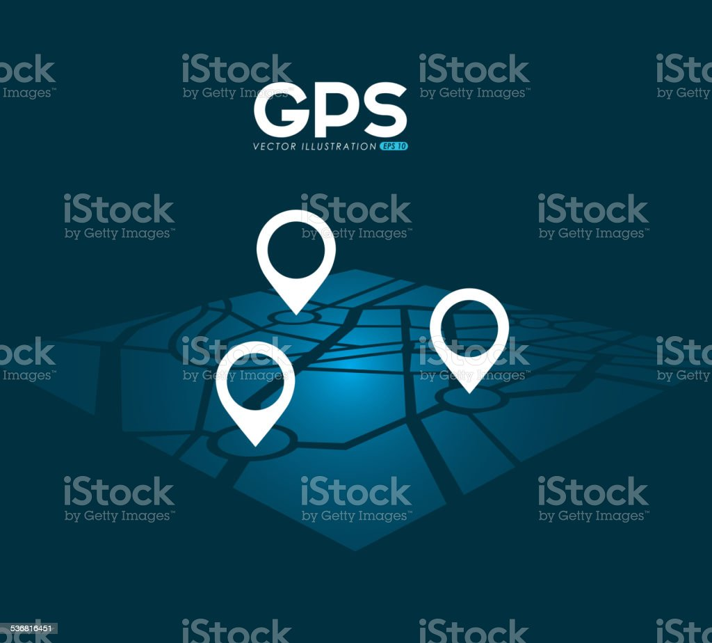 gps signals vector art illustration