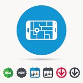 Gps street navigation icon. Smartphone sign.