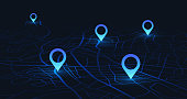 Gps tracking map. Track navigation pins on street maps, navigate mapping technology and locate position pin. Futuristic travel gps map or location navigator vector illustration