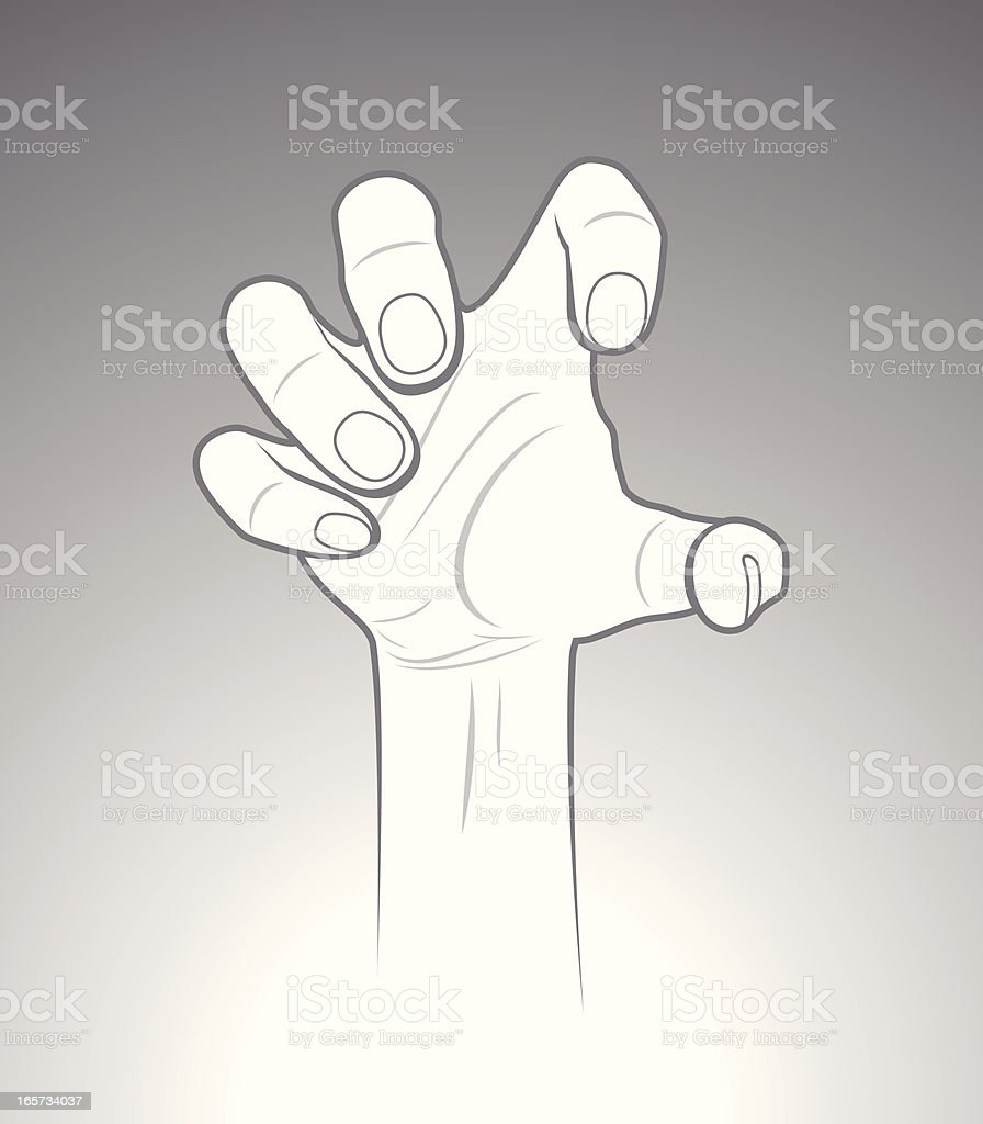 Grab Hand Sign vector art illustration