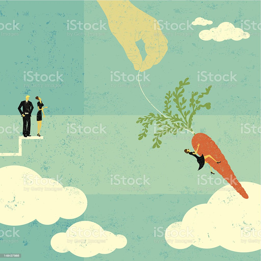 Grabbing the dangling carrot royalty-free stock vector art