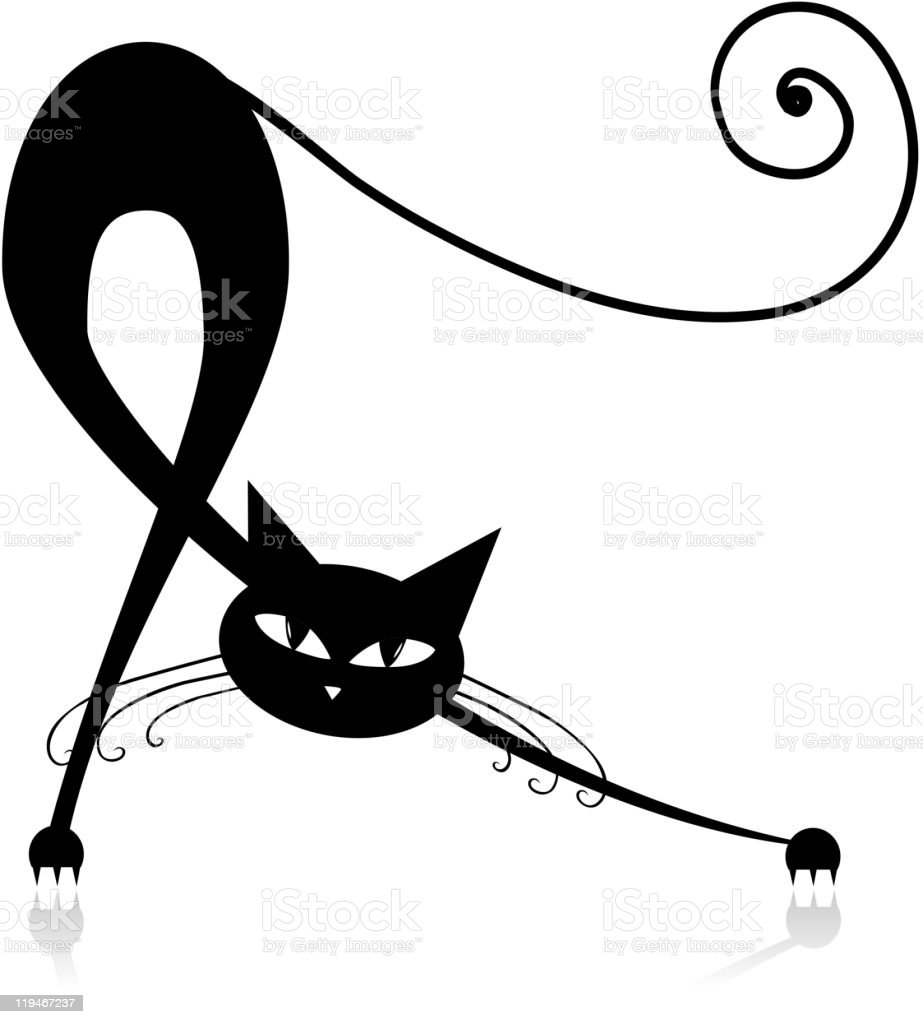 Graceful black cat silhouette for your design royalty-free stock vector art