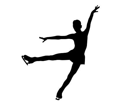 graceful figure skater girl black silhouette