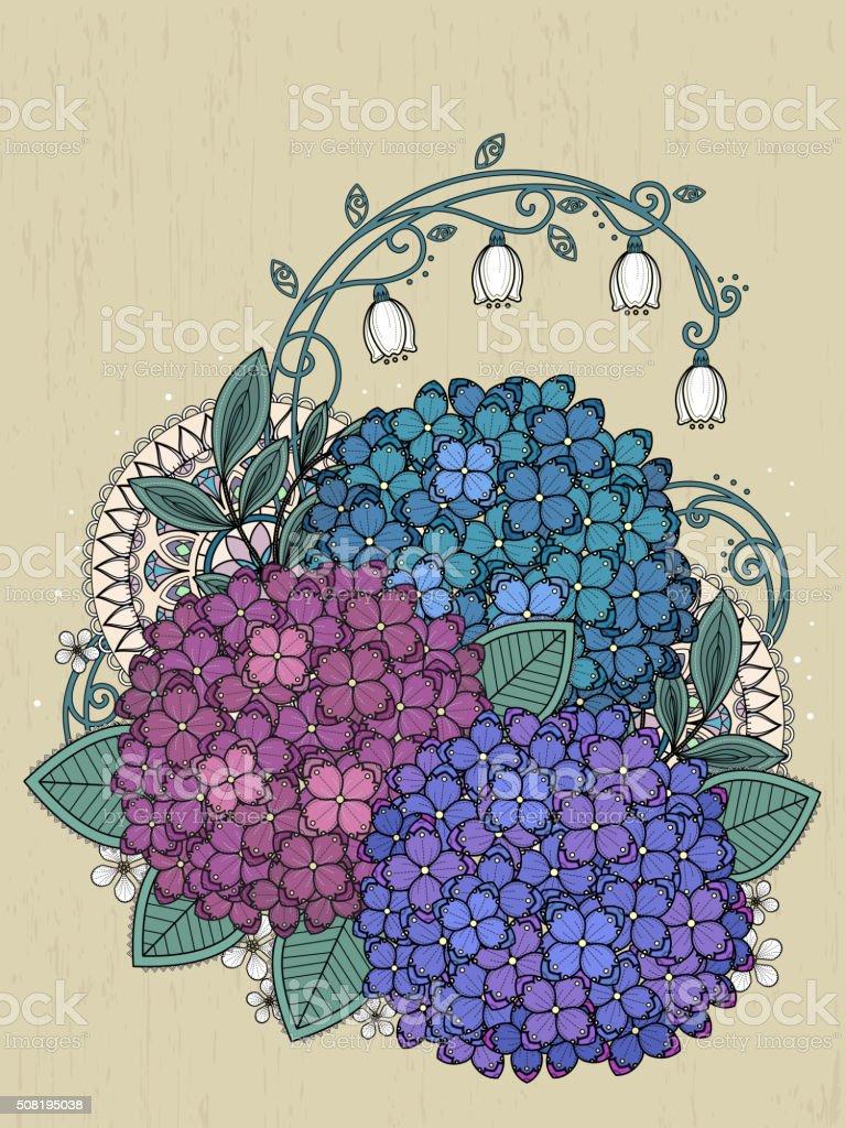 Wunderschöne Hortensie Färbung Seite Stock Vektor Art und mehr ...