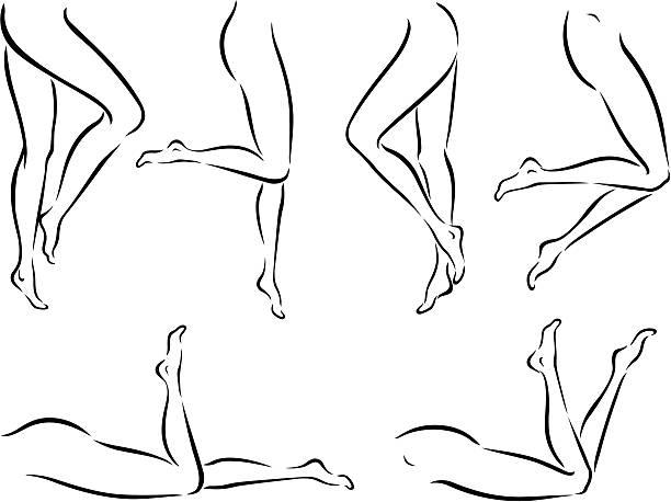eleganckie nagi nogi - ludzka noga stock illustrations
