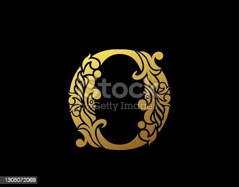 istock Graceful Ornate Gold O Letter Design. 1305072069