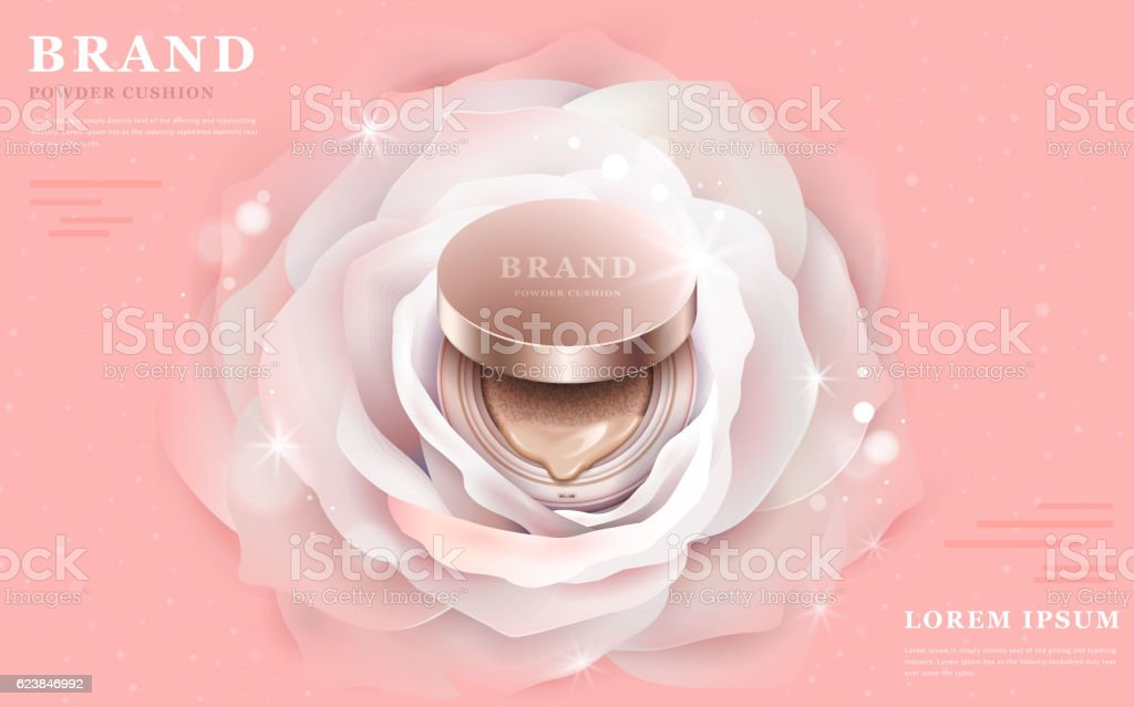 Graceful powder cushion ads vector art illustration