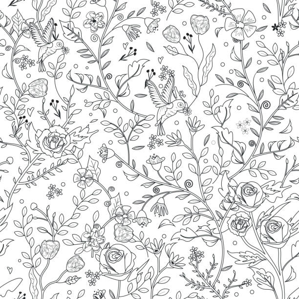 graceful seamless floral pattern coloring page - coloring book pages templates stock illustrations
